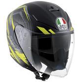 AGV K-5 Jet E2205 Multi Urban Hunter Open Face Motorcycle Helmet MS Matt Black Yellow