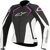 Alpinestars Stella Jaws Ladies Leather Motorcycle Jacket 42 Black White Fuchsia
