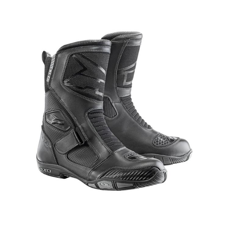 Axo Airflow Leather Motorcycle Boots 45 Black (UK 10.5)