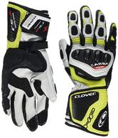 Clover RS-8 Leather Motorcycle Gloves L White Fluo Yellow