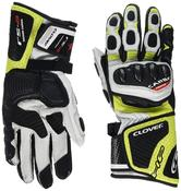 Clover RS-8 Leather Motorcycle Gloves M White Fluo Yellow