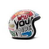 DMD Vintage Open Face Motorcycle Helmet M Words