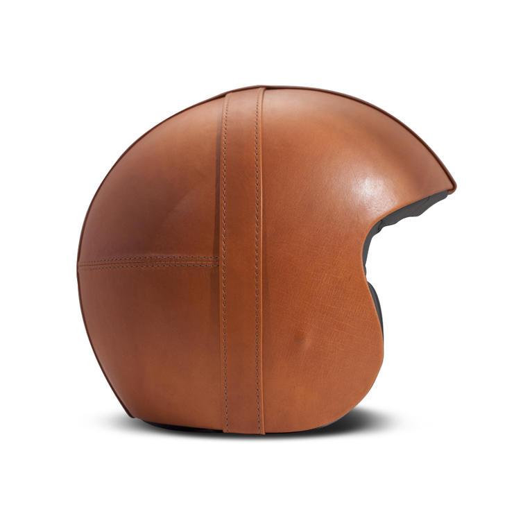 DMD Leather Bowl Open Face Motorcycle Helmet S Orange