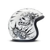 DMD Vintage Thunderstruck Open Face Motorcycle Helmet XS White Black