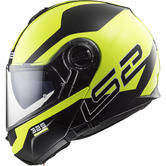LS2 FF325 Strobe Zone Flip Front Motorcycle Helmet XS Black H-V Yellow