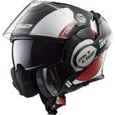 LS2 FF399 Valiant Avant Flip Front Motorcycle Helmet XL White Black Red