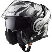 LS2 FF399 Valiant Roboto Flip Front Motorcycle Helmet S Black White Chrome