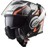 LS2 FF399 Valiant Roboto Flip Front Motorcycle Helmet XS Black Orange Chrome