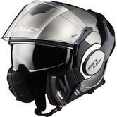 LS2 FF399 Valiant Single Mono Flip Front Motorcycle Helmet L Chrome