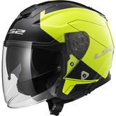 LS2 OF521 Infinity Beyond Open Face Motorcycle Helmet XS Black Hi-Viz Yellow