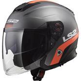 LS2 OF521 Infinity Smart Open Face Motorcycle Helmet L Matt Titanium Orange