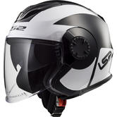LS2 OF570 Verso Mobile Open Face Motorcycle Helmet L Black White