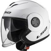 LS2 OF570 Verso Solid Open Face Motorcycle Helmet XS White
