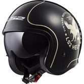 LS2 OF599 Spitfire Flier Open Face Motorcycle Helmet XL Black