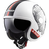 LS2 OF599 Spitfire Inky Open Face Motorcycle Helmet XL White Black