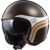 LS2 OF599 Spitfire Sunrise Open Face Motorcycle Helmet XS Brown White