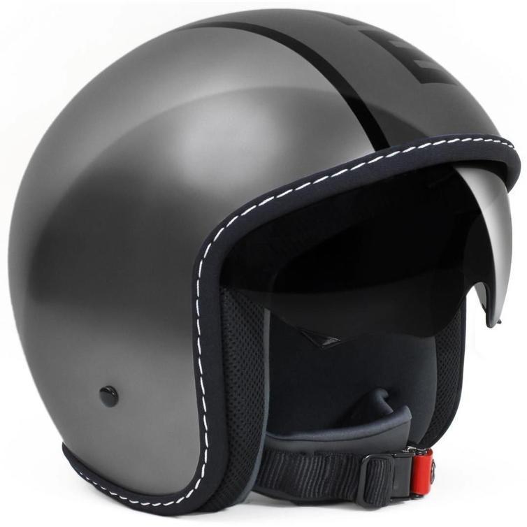 Momo Design Blade Open-Face Motorcycle Helmet XL Glossy Metal Grey