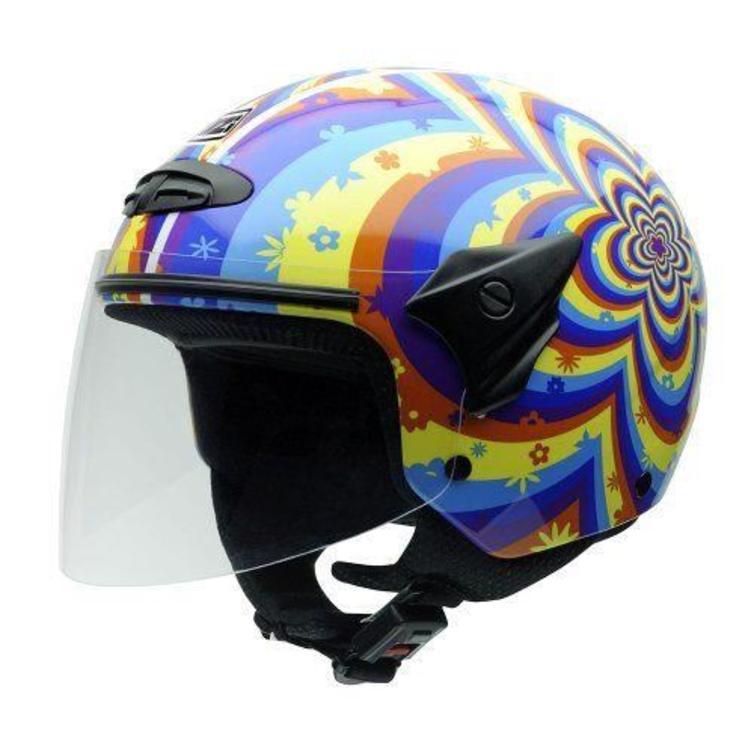 NZI Helix Daisy Youth Open Face Motorcycle Helmet JL (54cm) Blue Yellow