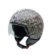 NZI Vintage II Mexican Skulls Open Face Motorcycle Helmet XXS Brown