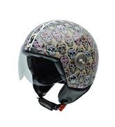 NZI Vintage II Mexican Skulls Open Face Motorcycle Helmet XXS Brown