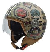 NZI Vintage II Retro Label Open Face Motorcycle Helmet S (55-56cm) Brown