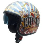 NZI Rolling 3 Sun Welcome Open Face Motorcycle Helmet XS (54cm) Blue Red