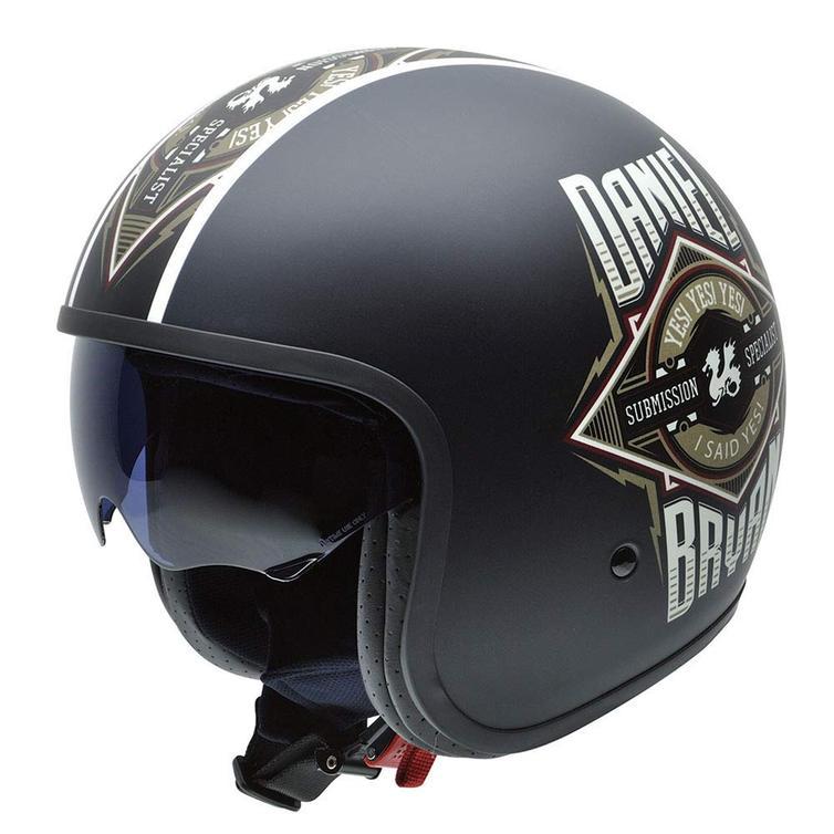 NZI Rolling 3 Sun Daniel Bryan Submission Open Face Motorcycle Helmet M (57cm) Black