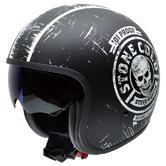 NZI Rolling 3 Sun Stone Cold Steve Austin Open Face Motorcycle Helmet XS (54cm) Black White