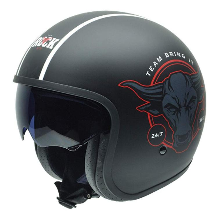 NZI Rolling 3 Sun The Rock Team Open Face Motorcycle Helmet L (58-59cm) Black Red
