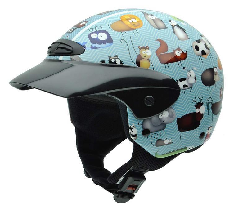 NZI Single Animals Youth Open Face Motorcycle Helmet JS (50-51cm) Blue