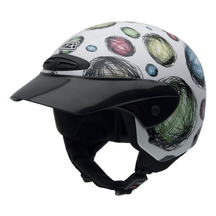 NZI Single Spheres Youth Open Face Motorcycle Helmet JM (52cm) White Green Blue