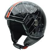 NZI Tonup Open Face Motorcycle Helmet XS (54cm) Black Orange
