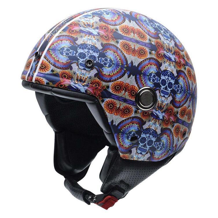 NZI Tonup Fractal Skull Open Face Motorcycle Helmet XS (54cm) Blue Red