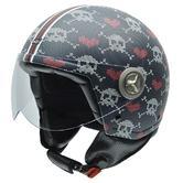 NZI Zeta Knitted Skulls Open Face Motorcycle Helmet S (55-56cm) Black Red White