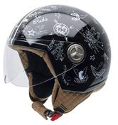 NZI Zeta Stickers Open Face Motorcycle Helmet XXS Black White