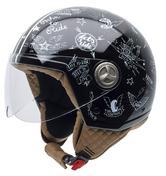 NZI Zeta Stickers Open Face Motorcycle Helmet XXS Black White