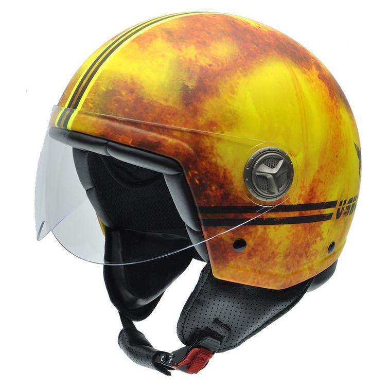 NZI Zeta Fire Ushuaia Open Face Motorcycle Helmet XS (54cm) Yellow Red