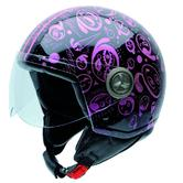 NZI Zeta Olive Oyl Phiz Open Face Motorcycle Helmet M (57cm) Black Purple