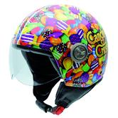 NZI Zeta Sugarbaby Open Face Motorcycle Helmet XS (54cm) Green Orange Purple