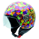 NZI Zeta Sugarbaby Open Face Motorcycle Helmet M (57cm) Green Orange Purple
