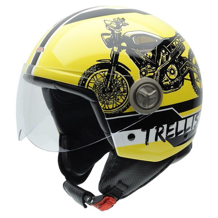 NZI Zeta Trellis Open Face Motorcycle Helmet XS (54cm) Yellow Black