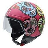 NZI Zeta Mexican Skulls Open Face Motorcycle Helmet XS (54cm) Pink