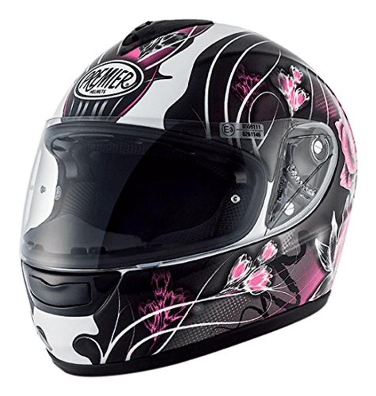 Premier Monza Vanity 9 BM Ladies Motorcycle Helmet XL Black White Pink