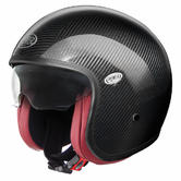Premier Vintage Carbon Open Face Motorcycle Helmet L Black Red