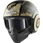 Shark Drak Evok Mat Open Face Motorcycle Helmet XS Matt Black Green Silver