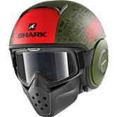 Shark Drak Tribute RM Mat Open Face Motorcycle Helmet S Matt Green Red Black