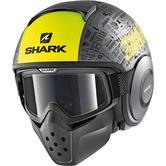 Shark Drak Tribute RM Mat Open Face Motorcycle Helmet XS Matt Anthracite Yellow Black