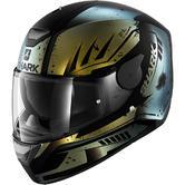 Shark D-Skwal Dharkov Mat Motorcycle Helmet L Matt Black Green Glitter