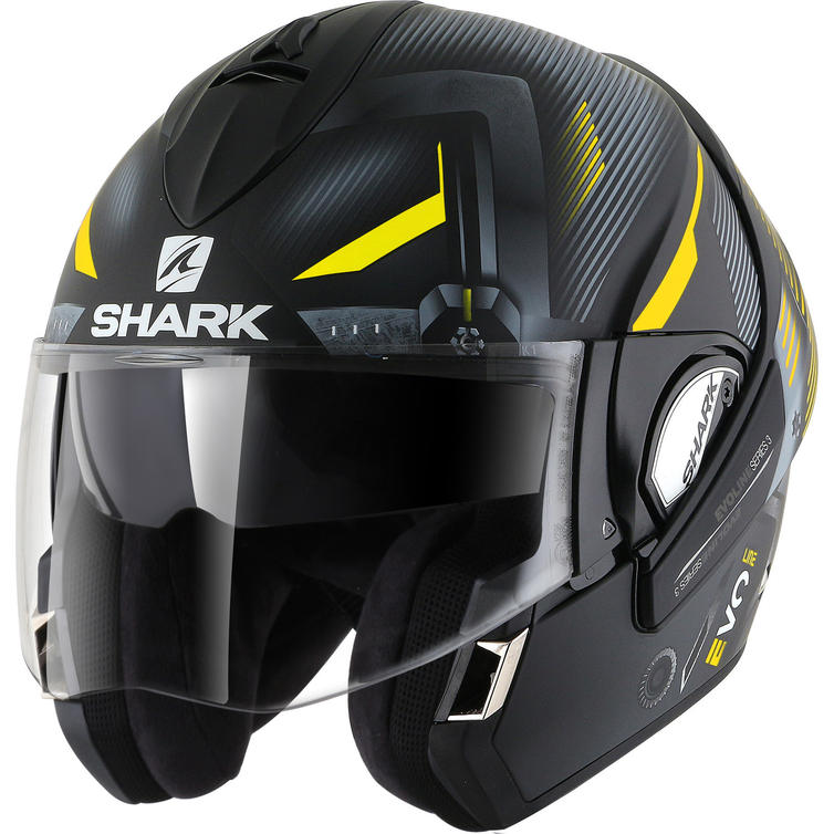 Shark Evoline S3 Shazer Mat Flip Front Motorcycle Helmet M Matt Black Yellow Silver