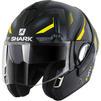 Shark Evoline S3 Shazer Mat Flip Front Motorcycle Helmet M Matt Black Yellow Silver Thumbnail 1